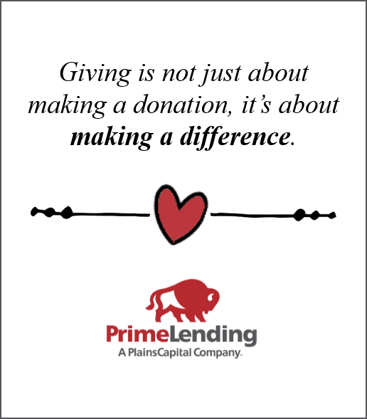 """PrimeLending Denver graphic displaying logo, heart, words """"Giving is not just about making a donation, it's about making a difference"""""""