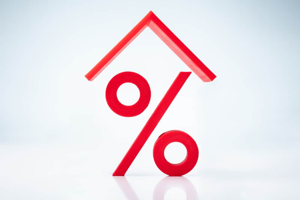 Red roof over percentage sign